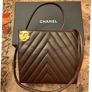 Extremely rare chanel chevron brown mini bag